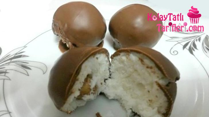 hindistan cevizi dolgulu cikolata toplari
